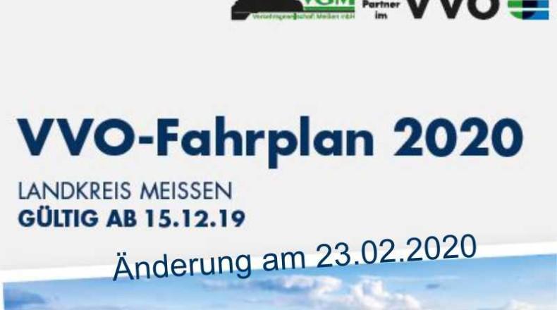 Fahrplananpassungen am 23.02.2020